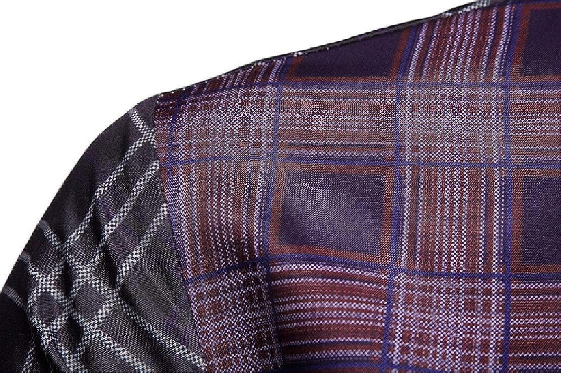 Comaba Men Casual Plus Size Plaid Stylish Britain Tshirt Top Shirt