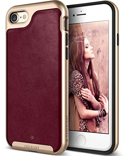 more photos d6bce 5b953 Caseology Envoy for Apple iPhone 8 Case (2017) / for iPhone 7 Case (2016) -  Premium Leather - Leather Cherry Oak