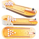 Wooden Mini Bowling Game Set with Lane: Best Interactive Desktop Game for Kids and Adults - Easy to Assemble and Play - Perfect Kids Bowling Set Pin - Mini Tabletop Bowling Toy for Your Little Players