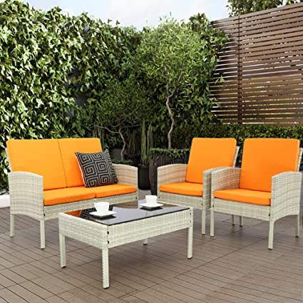 Haplife 4-Pieces Rattan Patio Furniture Set Outdoor Conversation Set Sectional Garden LawnSofa All Weather Wicker Chair Loveseat with Cushions ...