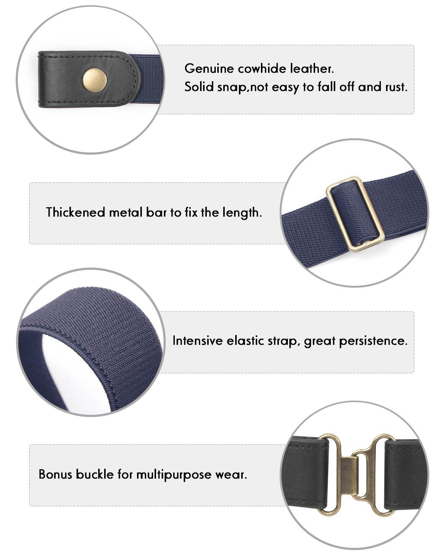No Buckle Stretch Belt 2 Pack for Women Elastic Waist Belt for Jeans Pants Dresses