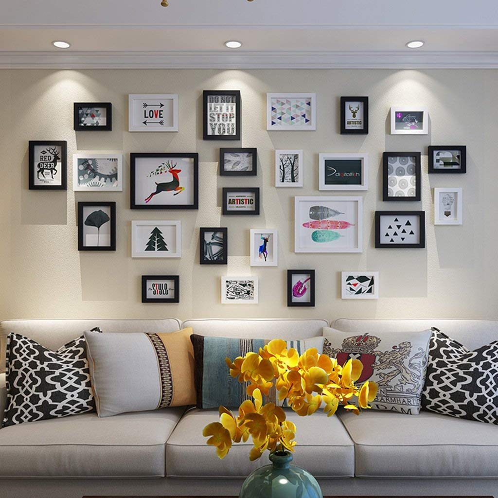 Der Photo Wall, Photo Frame Wall, Simple and Modern Living Room Photo Wall Decoration Creative Wall Combination Multi-Picture Frame (Color : F)