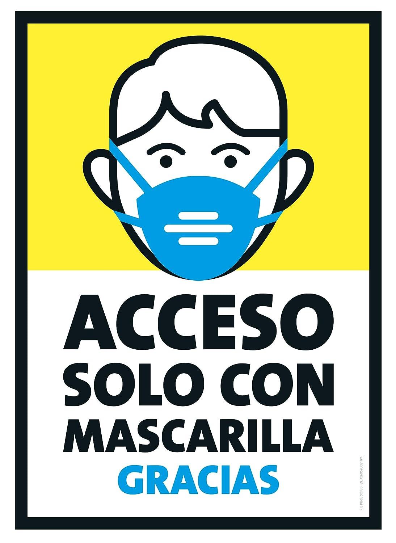 Conjunto de 5 - carteles - acceso solo con mascarilla - DIN A4, letrero: mascarilla se usa en puertas, supermercados, consultorios médicos, tiendas, etc.