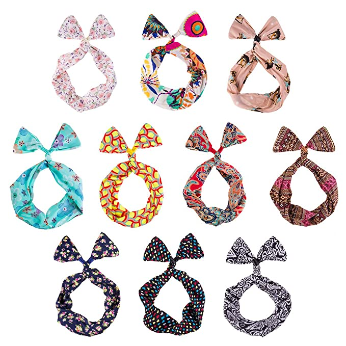 BMC 10 Pack Women s Flexible Wire Bunny Ear Head Band Hair Wrap Bow Pin-Up  Girl Fashion Scarf - Anti-Slip Versatile Twisted Tie w Assorted Color  Patterns b2ec57f2651
