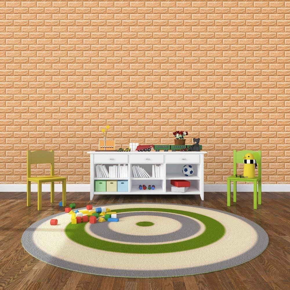 KINLO 5 Piezas 77 x 70 cm Pegatina de Pared 3D PE Espuma DIY 3D Ladrillo Pegatina Pared Sticker Autoadhesivo Wall Paneles Impermeable Azulejos de la Pared del Arte para Decoraci/ón Blanco