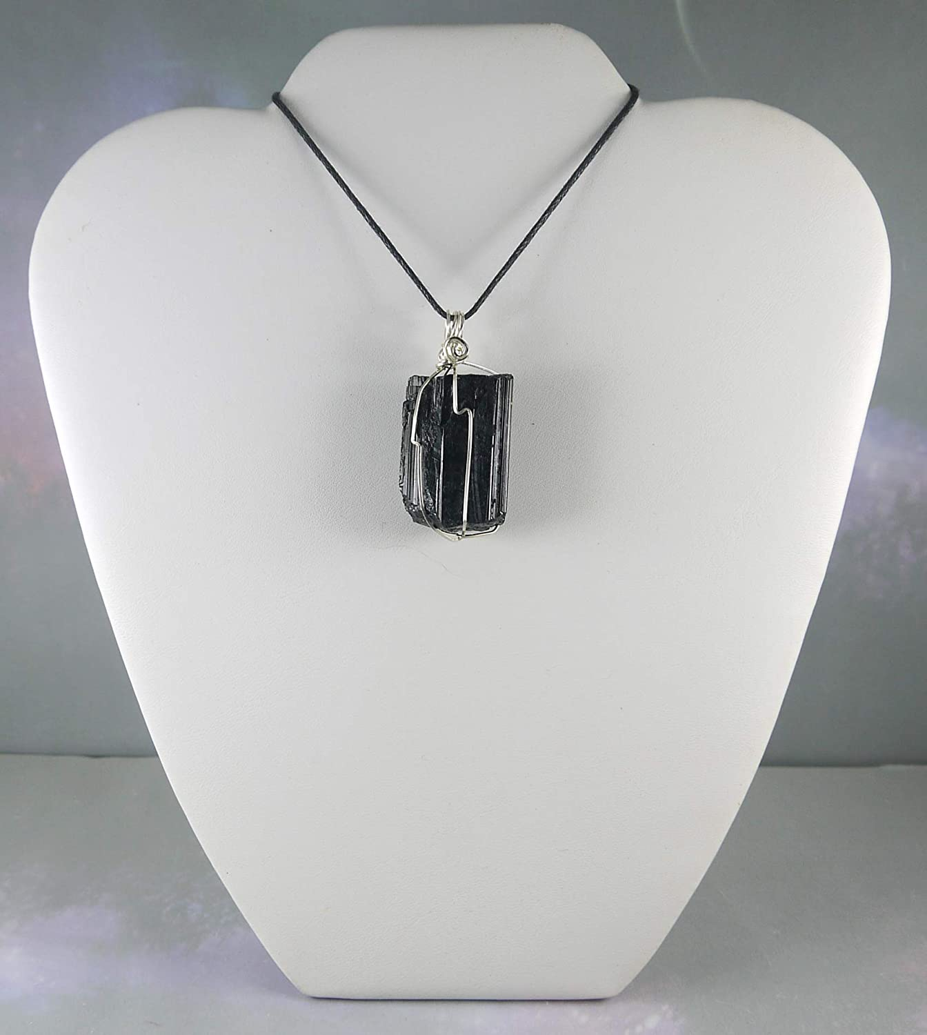 Healing Crystal Jewelry Silver Wire Wrapped Necklace Flashy Hand Cut Moonstone Pendant with Black Tourmaline