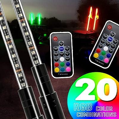 2PCS SIZZLEAUTO 3ft ATV UTV LED Whip Lights RGB Lighted Antenna Whips RF Remote Control w/US Flag for Off Road Jeep Sand Rails Buggies 4X4 Quad Can-am Maverick Yamaha Polaris RZR: Automotive