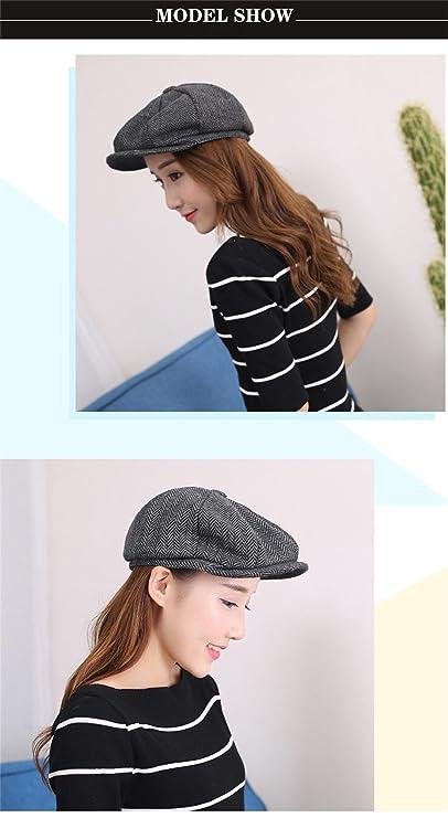 8c18c7789fd7f Hombres de estilo Newsboy 8 piezas de casquillo plano Herringbone lana Hat  (2)  Amazon.es  Ropa y accesorios