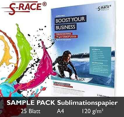 S-RACE Papel de sublimación A4, paquete de muestras, 20 hojas, 120 ...