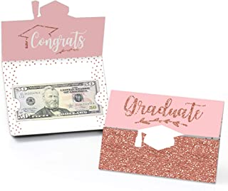 product image for Big Dot of Happiness Rose Gold Grad - Graduation Party Money and Gift Card Holders - Set of 8