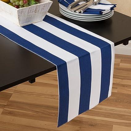 Amazon Com 13 X 90 In Navy Blue White Stripes Table