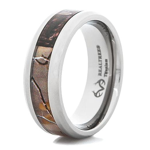 mens beveled edge titanium realtree ap camo wedding ring - Realtree Wedding Rings
