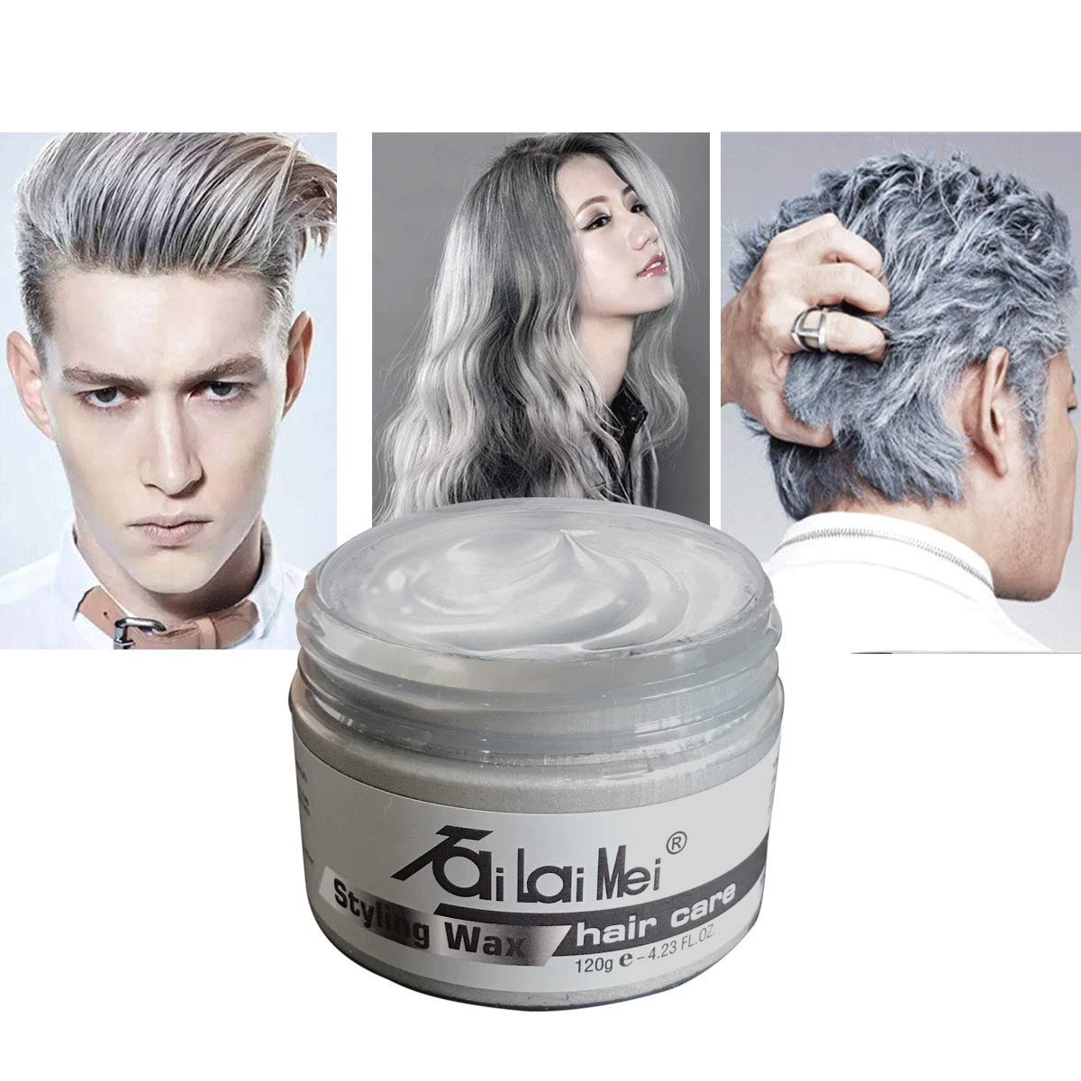 Temporary Silver Gray Hair Wax 4.23oz, Instant Hairstyle Mud Cream, Hair Pomades for Party, Cosplay, Nightclub, Masquerade, Halloween. by TailaiMei