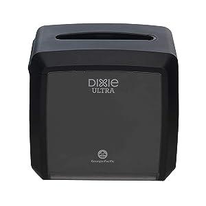 "Dixie Ultra Tabletop Interfold Napkin Dispenser by GP PRO (Georgia-Pacific), Black, 54527A, Holds 275 Napkins, 7.600"" W x 6.100"" D x 7.200"" H"