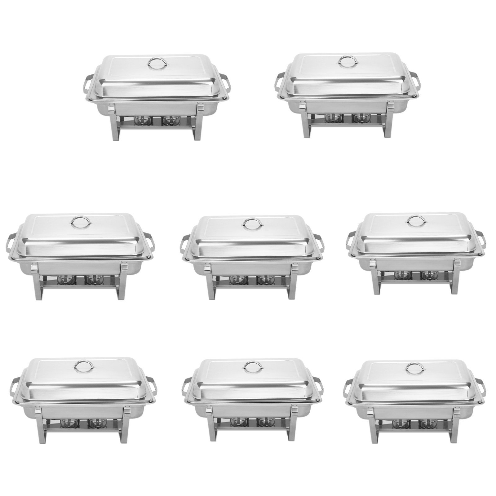 BestEquip Chafing Dish Set 8 Pack 8 Quart Chafer Dish Set Full Size Stainless Steel Chafer with Foldable Frame (pack of 8)