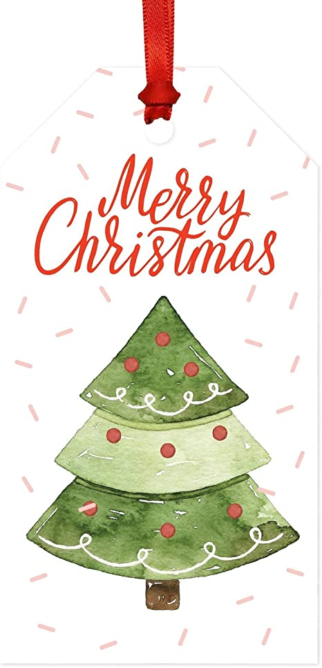Gift Present Stickers Party Xmas Water colour Christmas 24 Personalised Santa