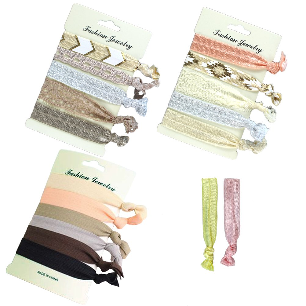 Elastic Hair Ties No Crease Ponytail Holders Hair Bands for Women Girls and Kids 18 Hair Ties Chengyuan