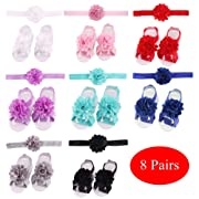 8 Pairs Satin Flower Headbands & Barefoot Sandals for Baby Girl Infants Toddlers (8 Pairs S1)
