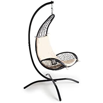 VonHaus Rattan Hanging Chair With Stand U2013 Outdoor Relaxing Egg Swing Chair  With Luxury Cushion And