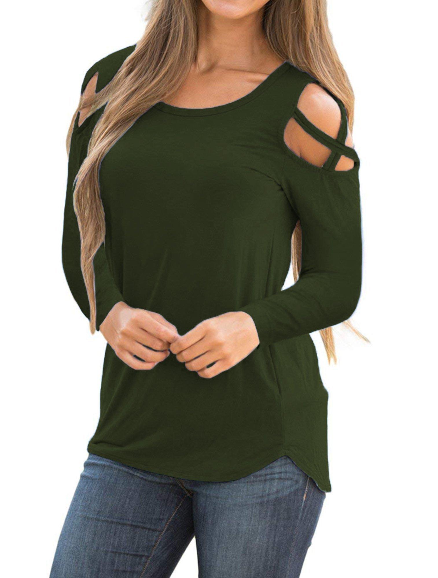 Sarin Mathews Womens Strappy Cold Shoulder Long Sleeve Tunic Tops Casual Loose Basic T Shirts ArmyGreen XL by Sarin Mathews (Image #2)
