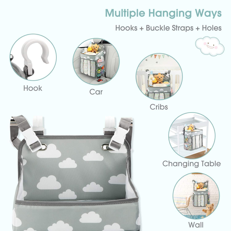 xnbnsj Hanging Crib Organizer Hanging Diaper Nursery Bag Crib Diaper Organizer for Diapers Wipes Storage