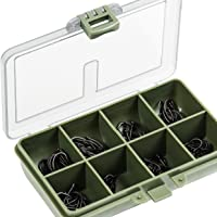 FLADEN 80 Assorted Barbless Curved and Wide Gape CARP FISHING HOOKS (Size 4, 6, 8 and 10) in Multiple Section Tackle Storage Box - 15cm x 12cm x 3cm [14-81180]