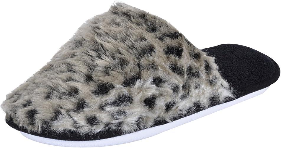 Ladies Faux Fur Grey Leopard Print Mule