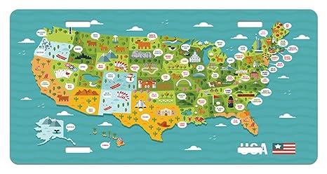 Amazon.com: Lunarable USA License Plate, Cartoon Style Map ...