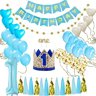 KOBWA 1st Birthday Decorations for Baby Boy First Birthday Party Blue Decors and Supplies, One Cake Crown Topper, Star Garland, Marble Blue, Gold Confetti, Heart Balloons, Paper Tassels