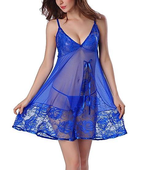 low priced 42b75 6e59a FEOYA Dessous Set Lingerie Kleid Damen Nachtwäsche Spitze Nachthemd  Babydoll Nachtkleid Frauen Wäsche