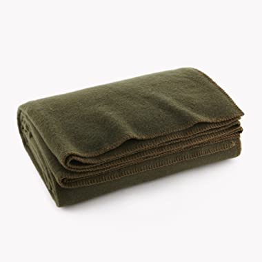 Ever Ready First Aid Olive Drab Green Warm Wool Fire Retardent Blanket, 66  x 90  (80% Wool)-US Military