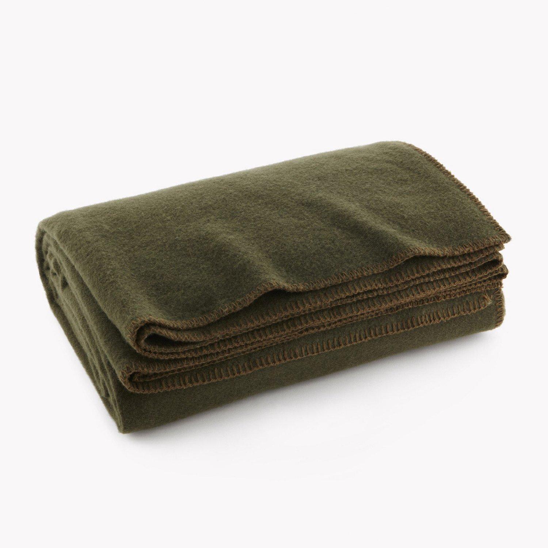 Olive Drab Green Warm Wool Fire Retardent Blanket, 66 x 90 (80% Wool)-US Military