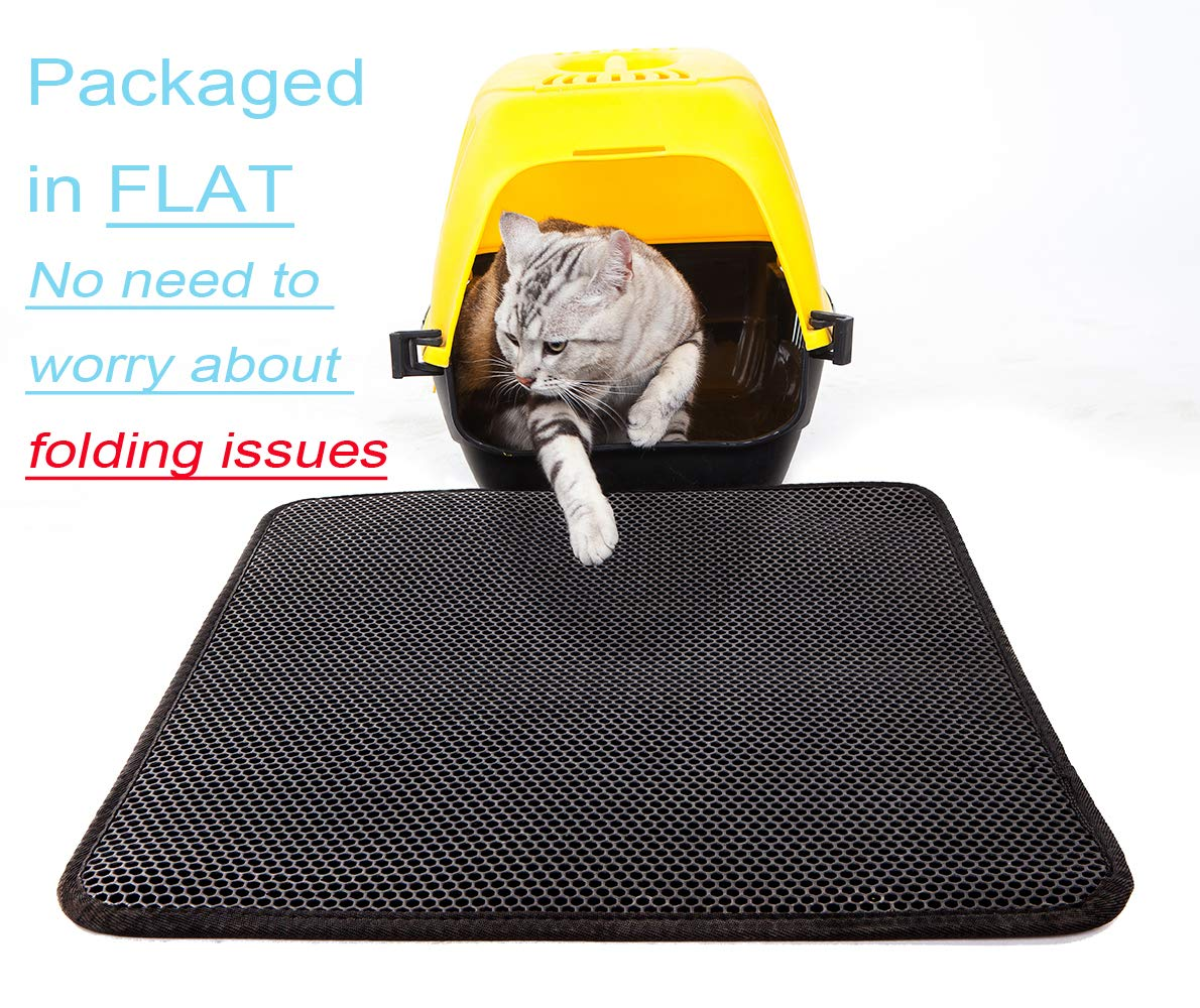 Lepet Cat Litter Mat XL Double-Layer Honeycomb Cat Litter Trapper with Waterproof Base Layer ECO-Friendly Light Weight EVA Foam Rubber (27 x 23 inches) by Lepet