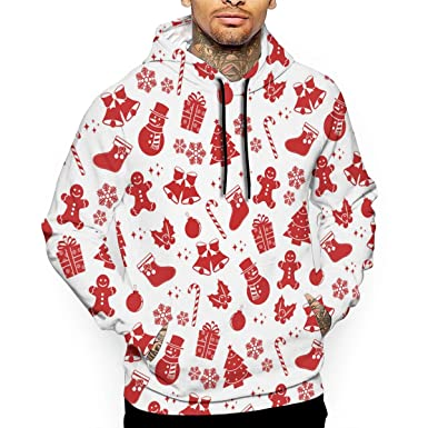 2659c795e632 Amazon.com  SARA NELL Christmas Red Pattern Men s 3D Printed Drawstring Hoodies  Hooded Pullover Sweatshirt Pockets  Clothing