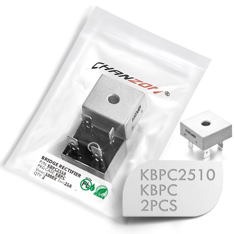 Mecion 5 Pcs KBPC2510 Bridge Rectifier Diode 25A 1000V KBPC Single Phase Full Wave 25 Amp 1000 Volt Electronic Silicon Diodes