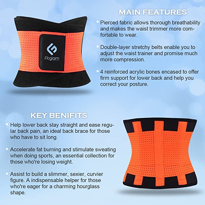 451439fb21 fitglam Waist Trainer Corset for Weight Loss Workout Waist Trimmer Cincher  Ab Belt Postpartum Girdle Hourglass Body Shaper at Amazon Women s Clothing  store