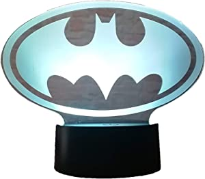 Fanrui DC Justice League Batman Logo Symbol Marvel Batman Symbol Sign AA Battery 16 Colors Auto Change Night Light The Dark Knight Desk Table Decor Lamp Kids Toys Boys Christmas Birthday Gifts Present
