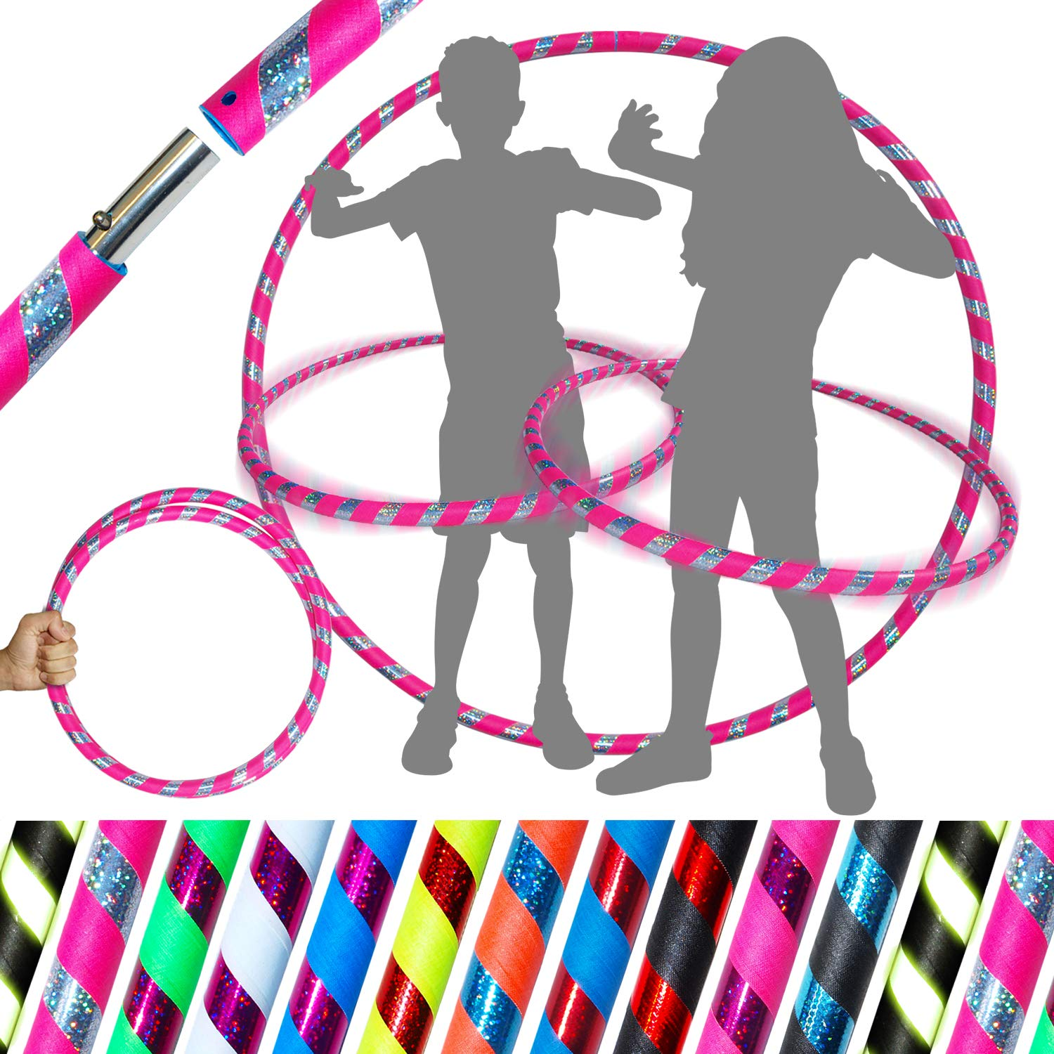 KID's HULA HOOPS - Quality Weighted Children's Hula Hoops! Great For Exercise, Dance, Fitness & FUN! NO Instructions needed! Same Day Dispatch! (UV Pink / Silver Glitter) by Flames N Games Kids Hoops