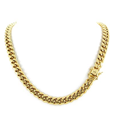 4e983d659b243 Harlembling Men's Miami Cuban Link Chain 14k 18k Yellow Gold White Or Rose  Gold Plated Stainless Steel 8-18mm Thick (18k Yellow Gold 10mm, 24)
