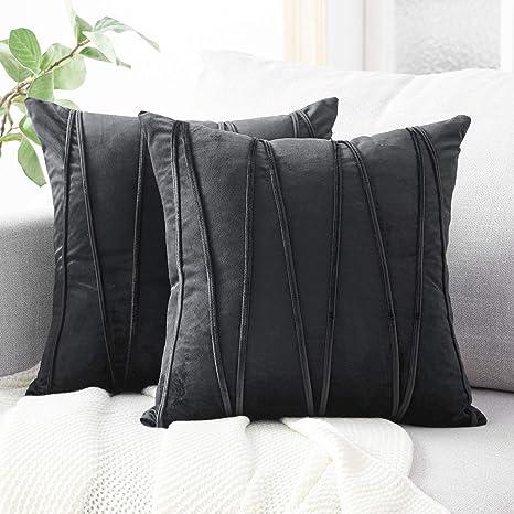 Top Finel Juegos 2 Hogar Cojín Terciopelo Suave Decorativa Almohadas Fundas de Color Sólido para Sala de Estar sofás 50x50cm Negro