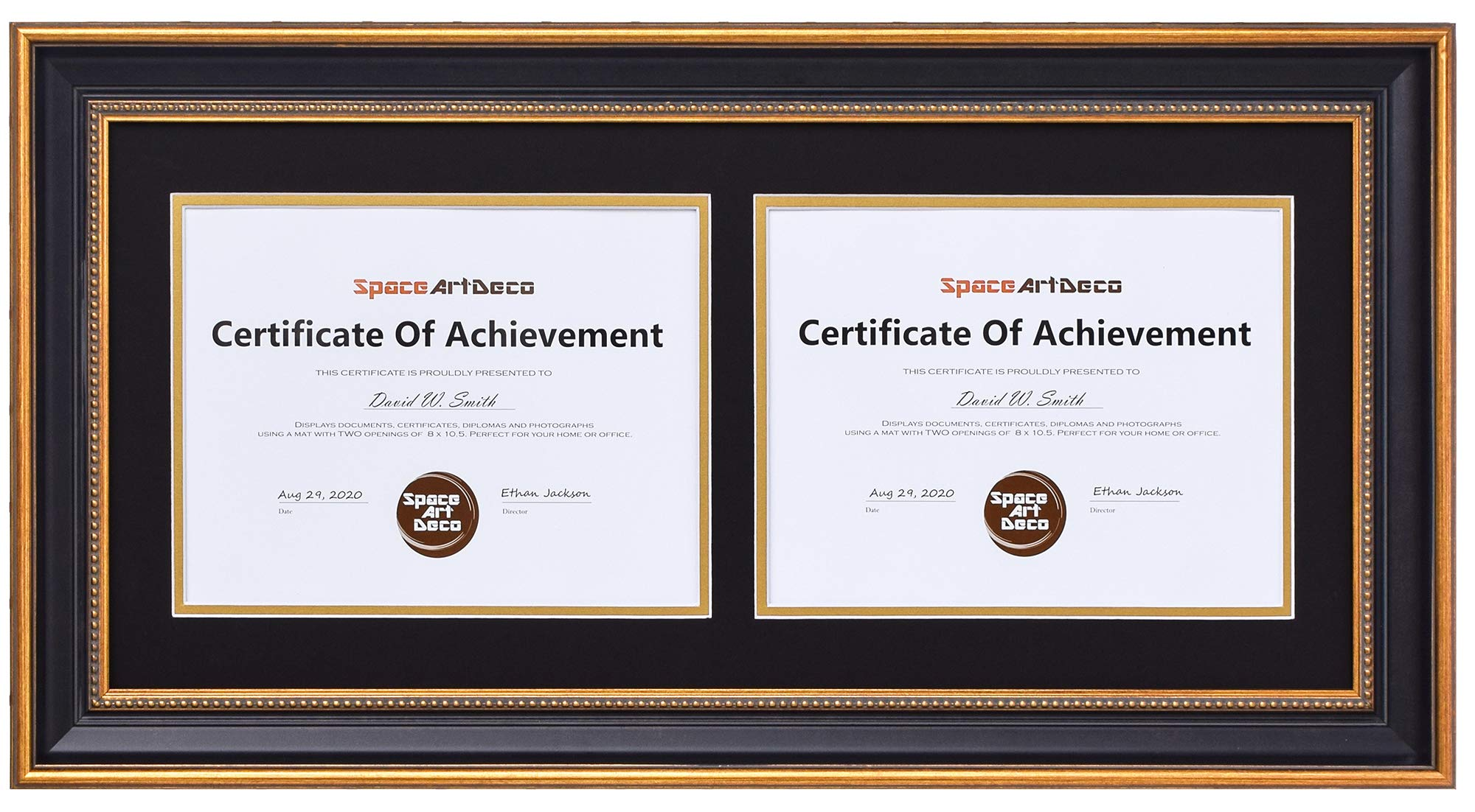 Space Art Deco Ornate Gold Black Horizontal Double Certificate/Diploma Frame - Black Over Gold Double Mat - for Two 8.5 x 11 Certificates and Diplomas- Sawtooth Hangers - Wall Mount - Glass (Ornate) by Space Art Deco