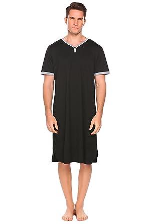 b06927b3c3 Declare Men s Cotton Nightshirt Short Sleeve Sleep Shirt Loose Nightgown  Sleepwear Dress(Black