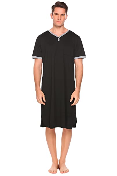 1941d7f248 Image Unavailable. Image not available for. Color  Ekouaer Men s Cotton  Nightshirt Short Sleeve Sleep Shirt Loose Nightgown Sleepwear Dress(Black  ...