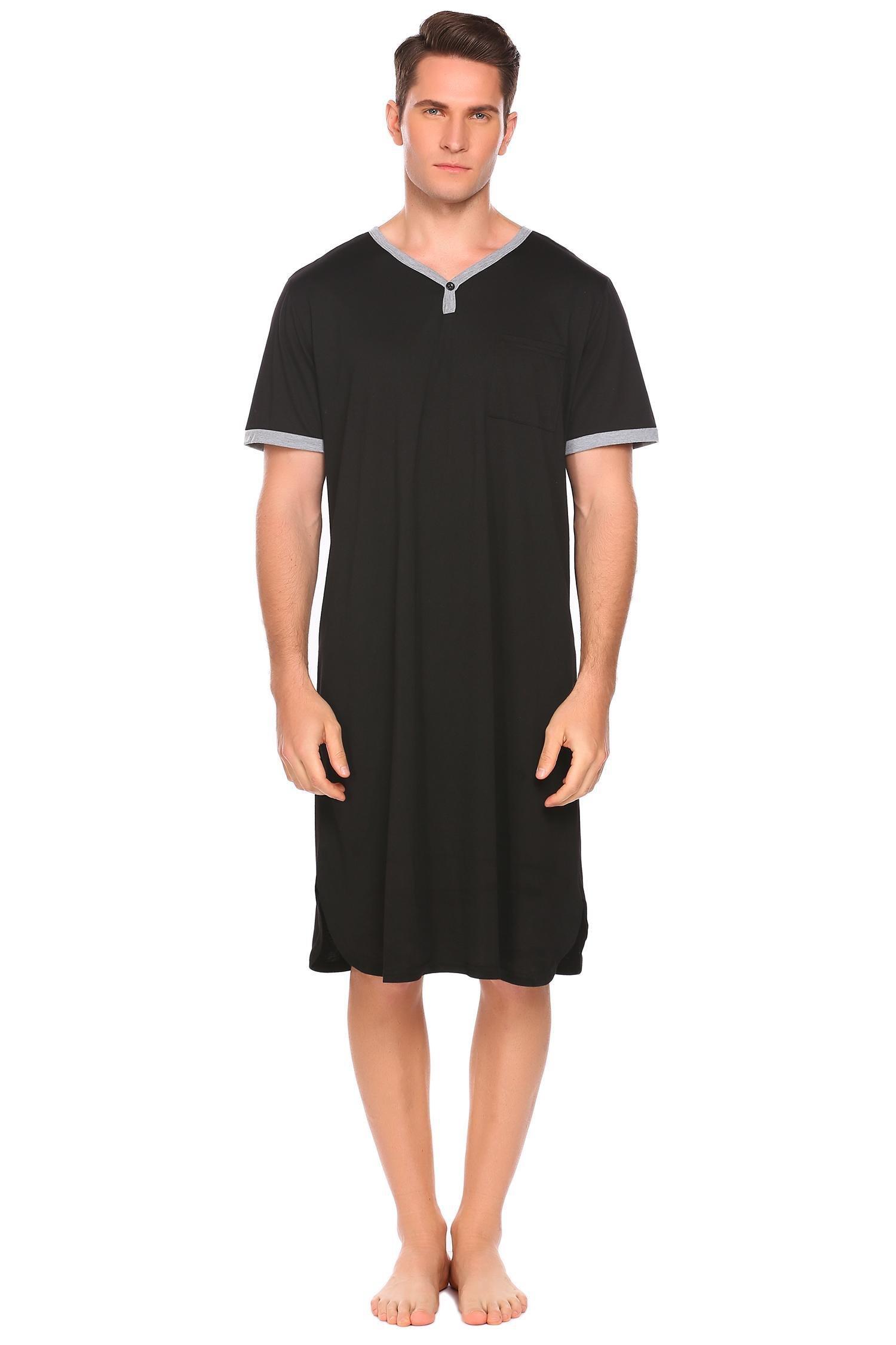 Pagacat Men's Nightshirt Cotton Nightwear Comfy Big&Tall Short Sleeve Sleep Shirt(Black,Medium)