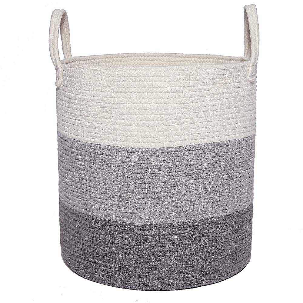 Woven Cotton Rope Storage Basket, Baby Laundry Hamper Storage Bin Baskets with Handle for Organize Toys, Blanket, Diaper or Home Decor