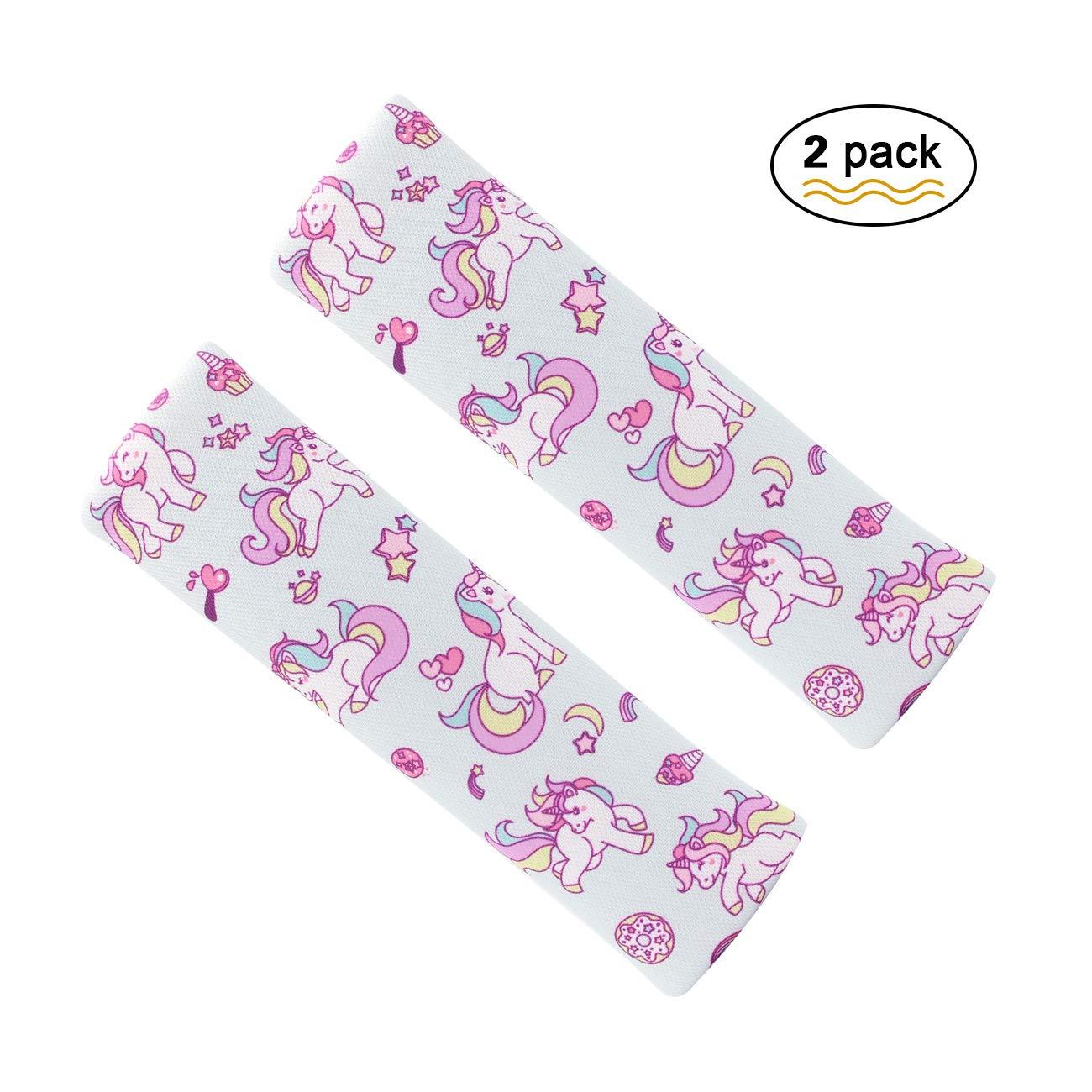 Unicorn pastiglie di cintura, cintura di sicurezza coperture per bambini, regolare veicolo spalline 2PCS. Carrep
