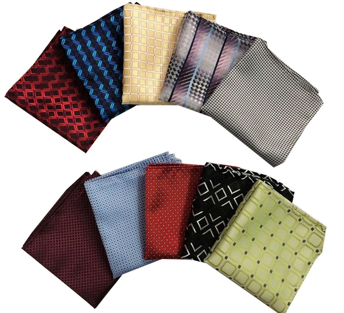 MENDENG Men's 10 Pack Plaid Check Assorted Pocket Square Silk Handkerchief Set by MENDENG (Image #2)