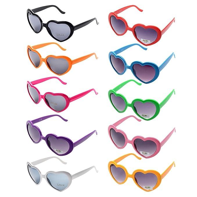 ae0272406229 OAONNEA 10 Packs Neon Colors Party Favors Heart Sunglasses (10 Packs Color)