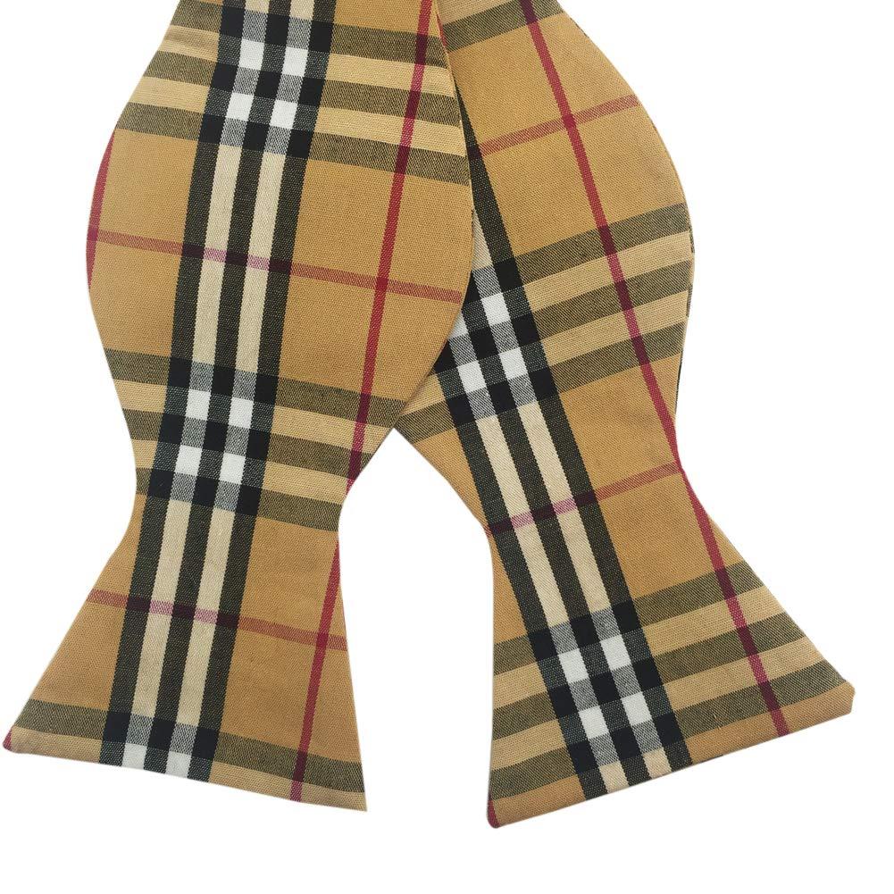 Mens Adjustable Self-Tie Classic Plaid/Stripe Woven Cotton Bow Ties (Purple)