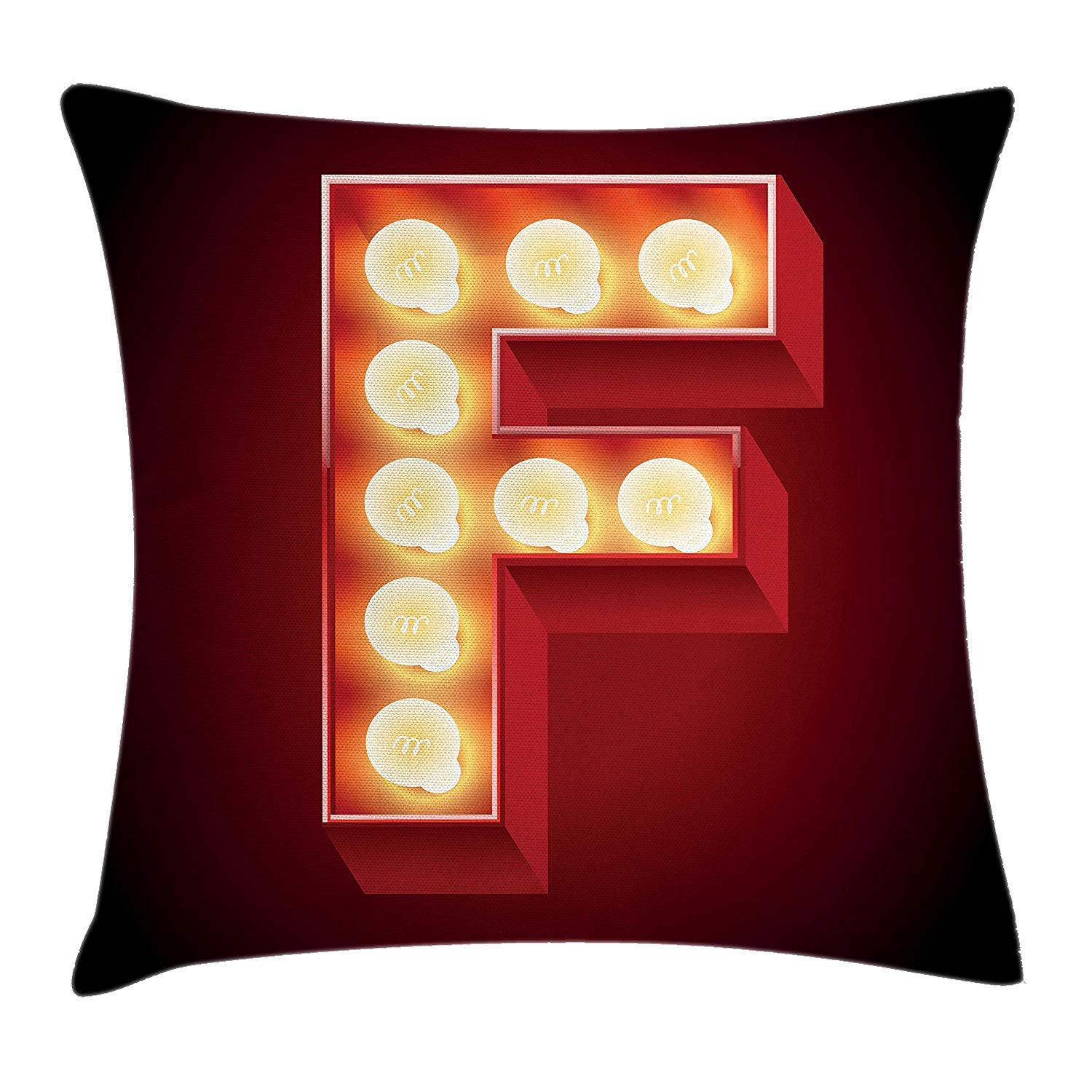 Queen Area Letter F Capital F Typescript Nightlife Disco Clubs Casino Movie Theater Font Print Square Throw Pillow Covers Cushion Case for Sofa Bedroom Car 18x18 Inch, Ruby Yellow Black